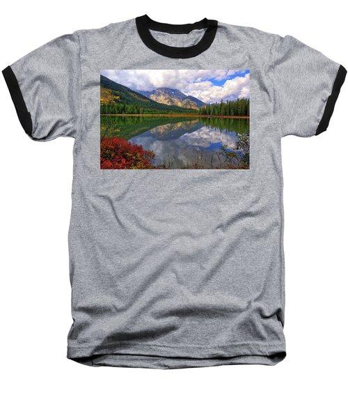 Leigh Lake Morning Reflections Baseball T-Shirt