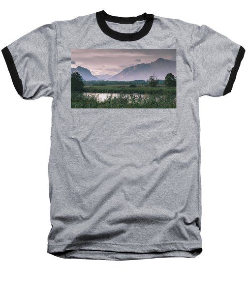 Leisure Boat On River Adda In Northern Italy, Close To Lake Como - Reflection Of Italian Alps Baseball T-Shirt