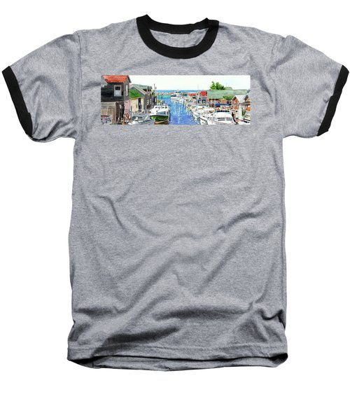 Leland Fishtown, Fishing Village, Leland Painting, Michigan Painting, Boating, Boat Painting Baseball T-Shirt
