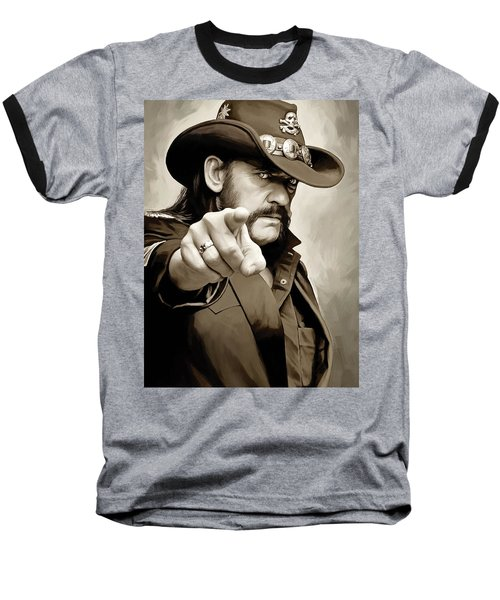 Baseball T-Shirt featuring the painting Lemmy Kilmister Motorhead Artwork 1 by Sheraz A