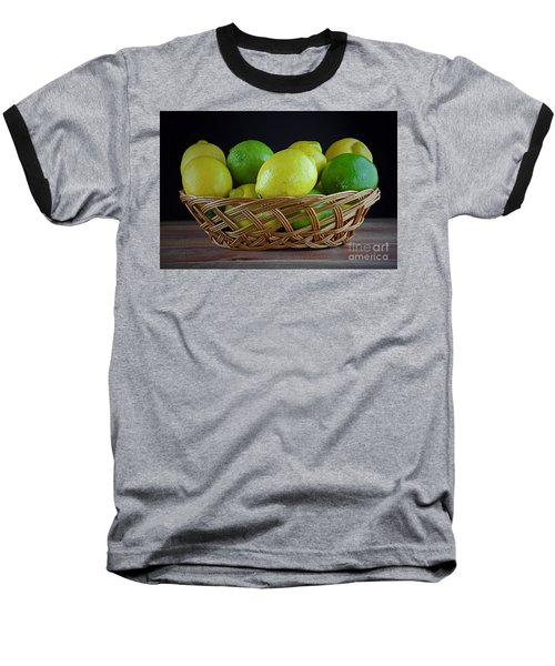 Lemon And Lime Basket Baseball T-Shirt by Ray Shrewsberry