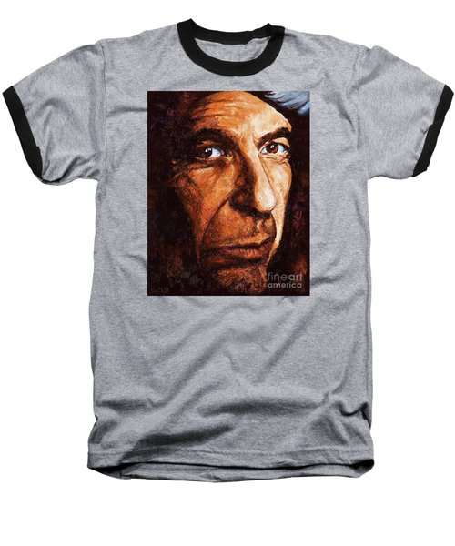 Leonard Cohen Baseball T-Shirt by Igor Postash