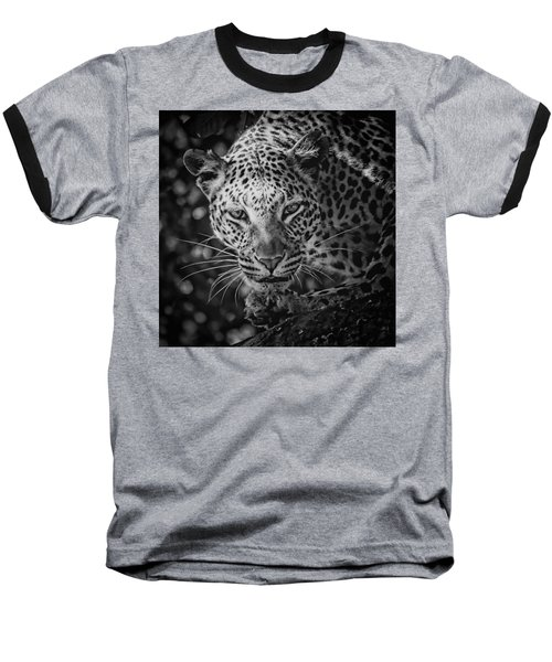 Leopard, Black And White Baseball T-Shirt