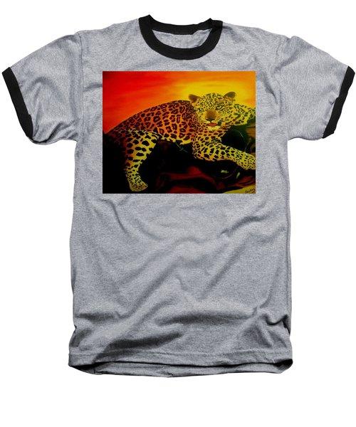 Leopard On A Tree Baseball T-Shirt