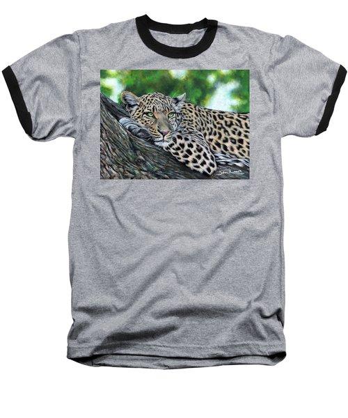 Leopard On Branch Baseball T-Shirt