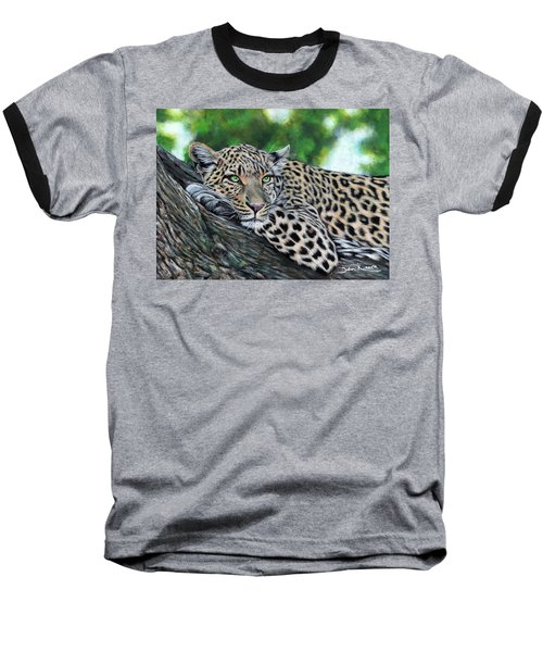 Leopard On Branch Baseball T-Shirt