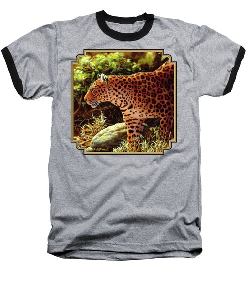 Leopard Painting - On The Prowl Baseball T-Shirt by Crista Forest