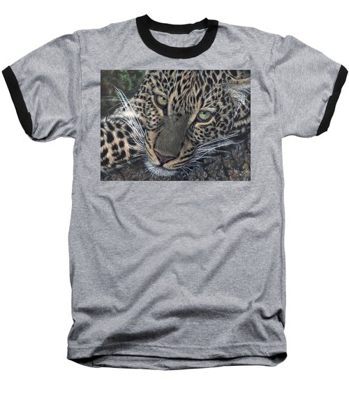 Leopard Portrait Baseball T-Shirt