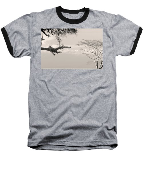 Leopard Resting On A Tree Baseball T-Shirt