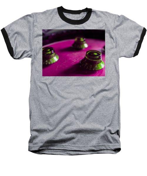 Guitar Controls Series Pink And Green Baseball T-Shirt