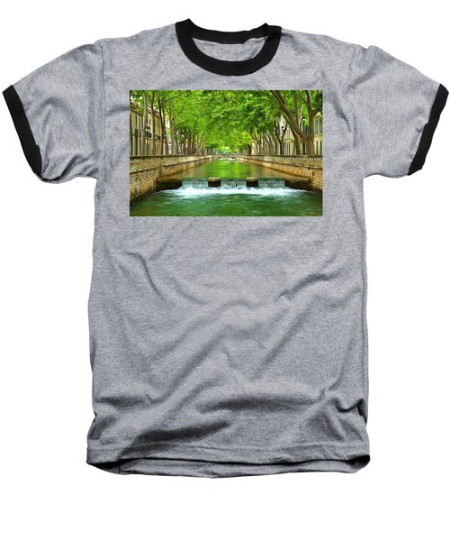 Les Quais De La Fontaine Nimes Baseball T-Shirt by Scott Carruthers