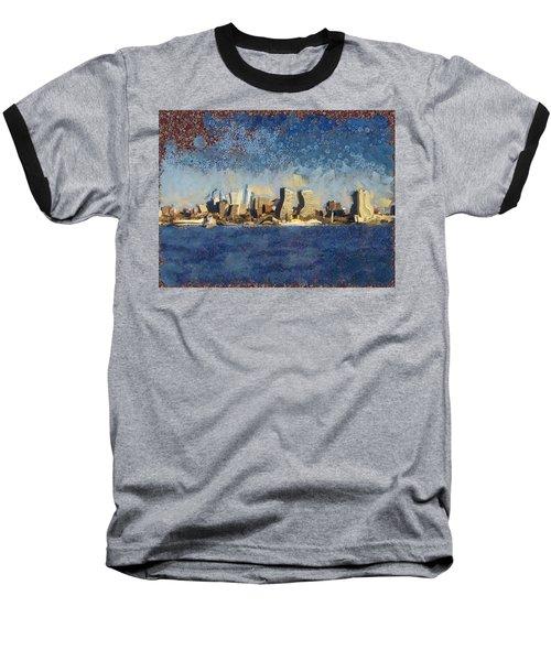 Baseball T-Shirt featuring the mixed media Less Wacky Philly Skyline by Trish Tritz