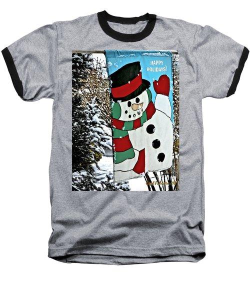Let It Snow - Happy Holidays Baseball T-Shirt by Carol F Austin