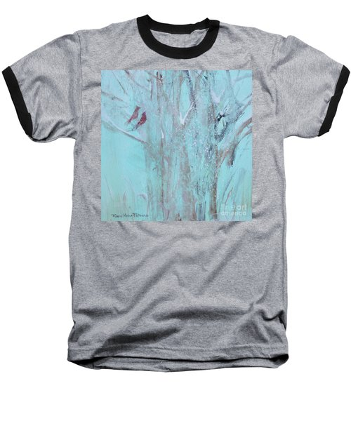Baseball T-Shirt featuring the painting Let It Snow by Robin Maria Pedrero
