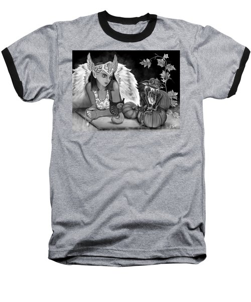 Baseball T-Shirt featuring the painting Let Me Explain - Black And White Fantasy Art by Raphael Lopez