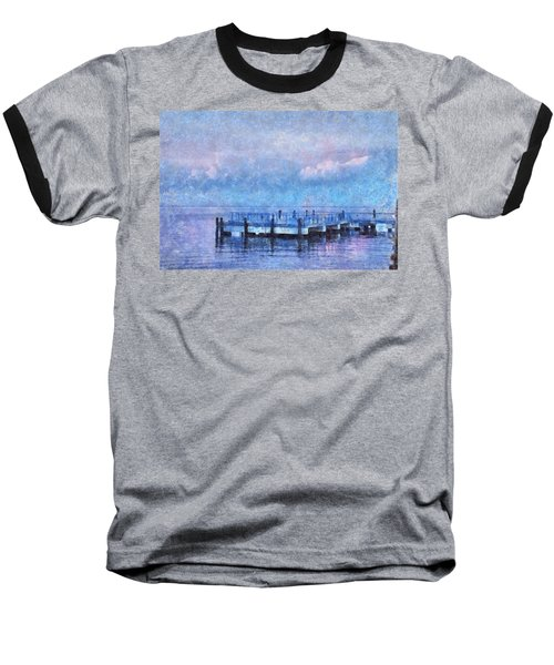 Baseball T-Shirt featuring the mixed media Lewes Pier by Trish Tritz