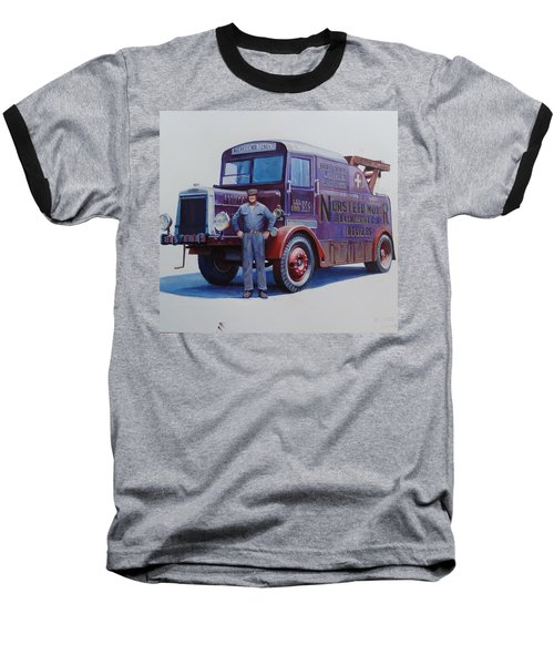 Baseball T-Shirt featuring the painting Leyland Wrecker 1930. by Mike  Jeffries