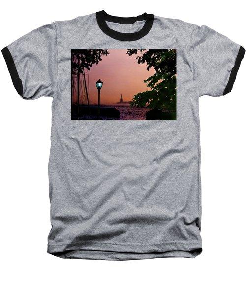 Baseball T-Shirt featuring the digital art Liberty Fading Seascape by Steve Karol