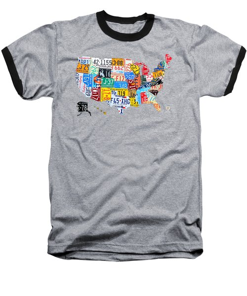 License Plate Art Map Of The United States On Yellow Board Baseball T-Shirt by Design Turnpike
