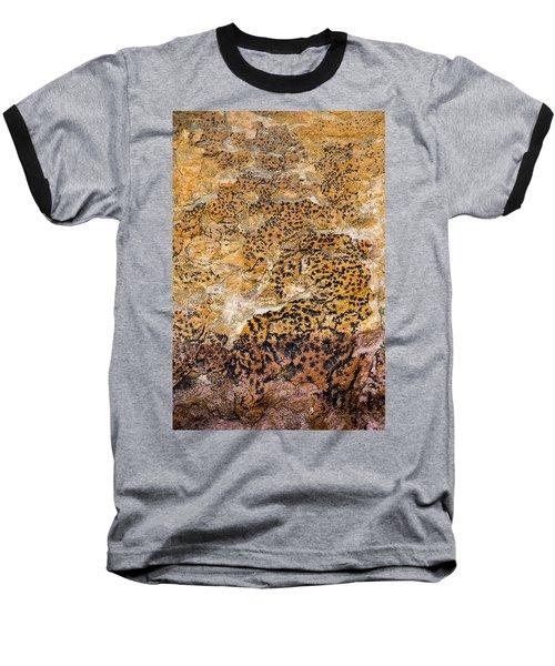 Baseball T-Shirt featuring the photograph Lichen Abstract, Bhimbetka, 2016 by Hitendra SINKAR