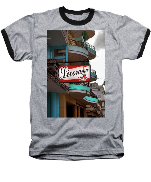 Baseball T-Shirt featuring the photograph Licorama Bar Liquor Store In Havana Cuba At Calle 6 by Charles Harden
