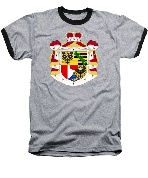 Baseball T-Shirt featuring the drawing Liechtenstein Coat Of Arms by Movie Poster Prints