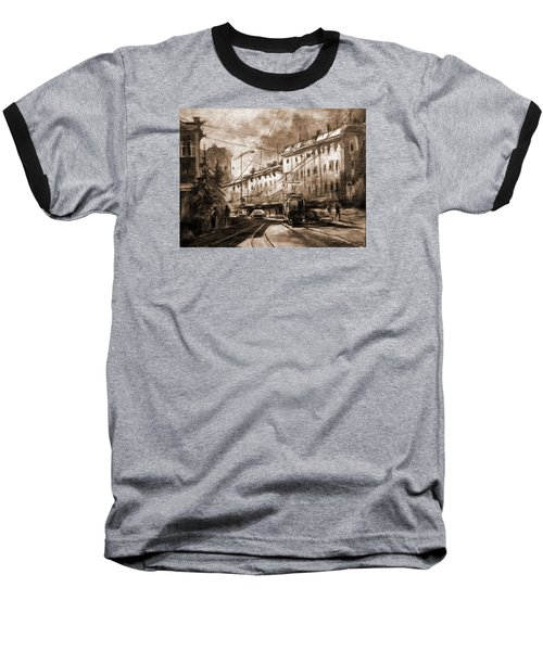 Life In The City Baseball T-Shirt by Mikhail Savchenko