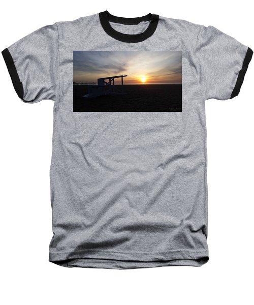 Lifeguard Stand And Sunrise Baseball T-Shirt
