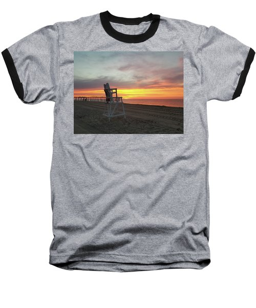 Lifeguard Stand On The Beach At Sunrise Baseball T-Shirt