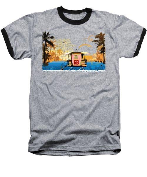 Lifeguard Station 6b Baseball T-Shirt by Paulette B Wright