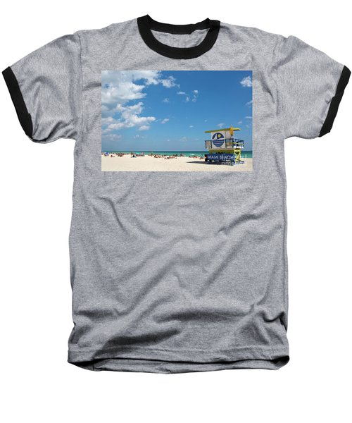 Lifeguard Station Miami Beach Florida Baseball T-Shirt