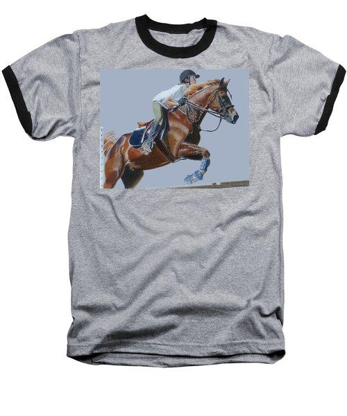 Horse Jumper Baseball T-Shirt by Patricia Barmatz