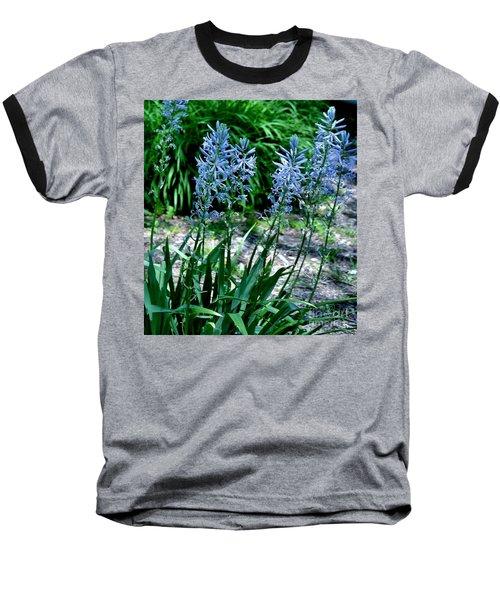 Light Blue Lace Baseball T-Shirt by Marsha Heiken