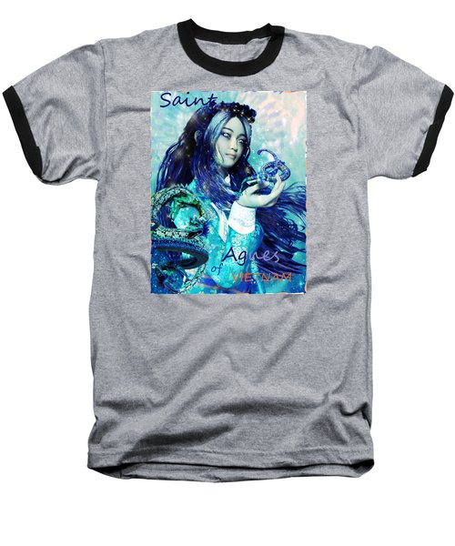 Baseball T-Shirt featuring the painting Light Of Vietnam Saint Agnes by Suzanne Silvir