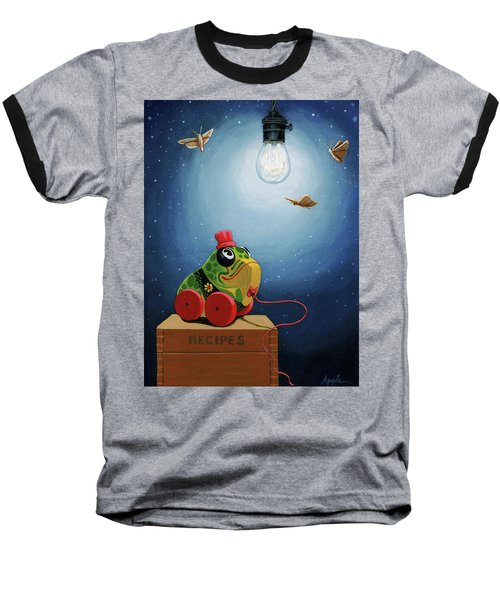 Baseball T-Shirt featuring the painting Light Snacks Original Whimsical Still Life by Linda Apple