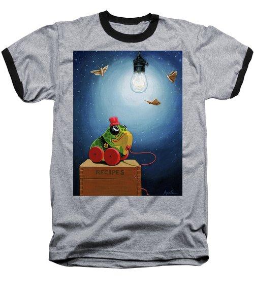 Light Snacks Original Whimsical Still Life Baseball T-Shirt by Linda Apple