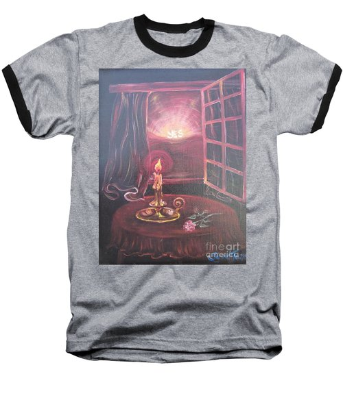 Baseball T-Shirt featuring the painting Light The Yes Candle by Sigrid Tune