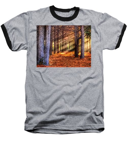 Baseball T-Shirt featuring the photograph Light Thru The Trees by Sumoflam Photography