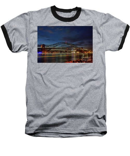 Light Trails On The Harbor By Kaye Menner Baseball T-Shirt by Kaye Menner
