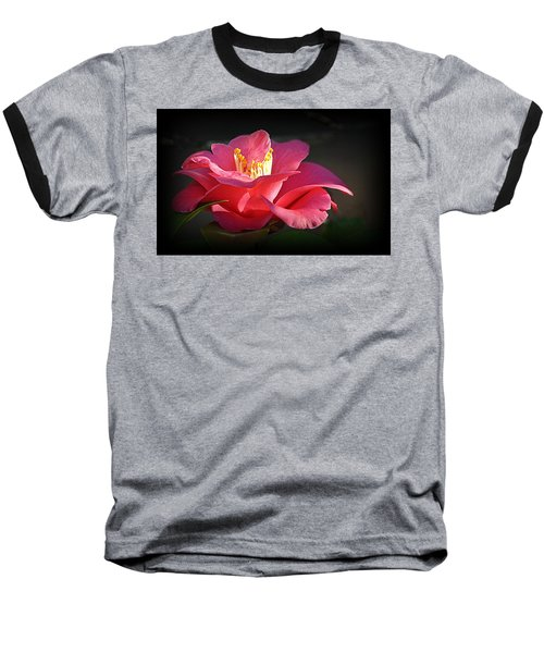 Baseball T-Shirt featuring the photograph Lighted Camellia by AJ Schibig