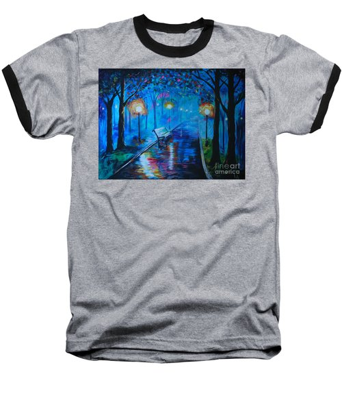 Baseball T-Shirt featuring the painting Lighted Parkway by Leslie Allen