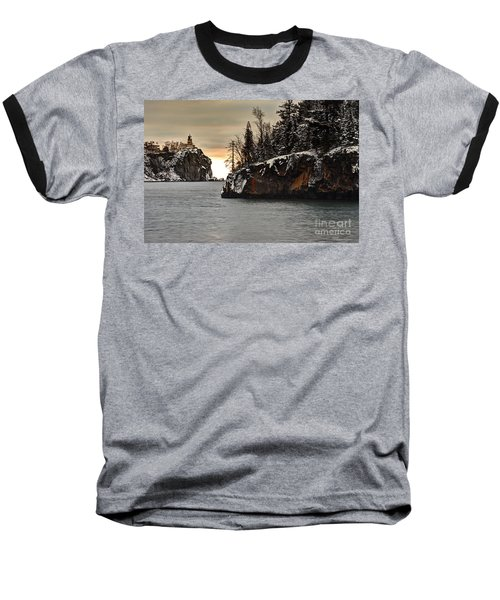 Lighthouse And Island At Dawn Baseball T-Shirt by Larry Ricker