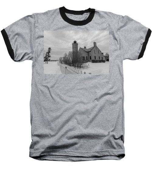 Baseball T-Shirt featuring the photograph Lighthouse And Mackinac Bridge Winter Black And White  by John McGraw