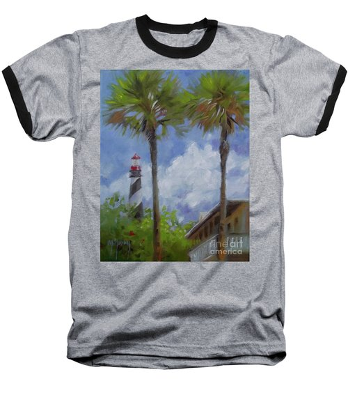 Lighthouse And Palms Baseball T-Shirt by Mary Hubley