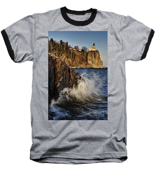 Baseball T-Shirt featuring the photograph Lighthouse And Spray by Larry Ricker