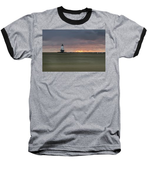 Lighthouse And Sunset Baseball T-Shirt