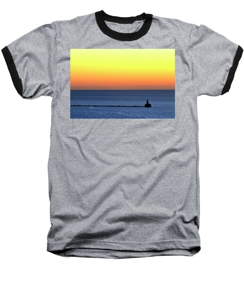 Lighthouse At Sunrise On Lake Michigan Baseball T-Shirt by Zawhaus Photography