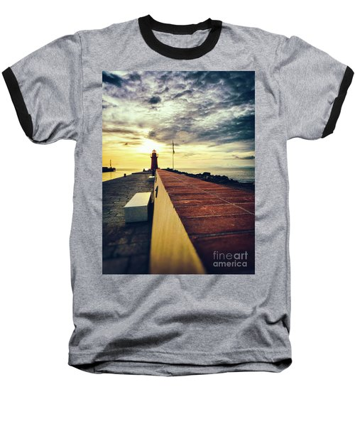 Baseball T-Shirt featuring the photograph Lighthouse At Sunset by Silvia Ganora
