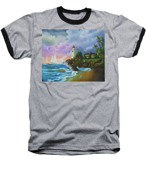 Lighthouse By The Village Baseball T-Shirt