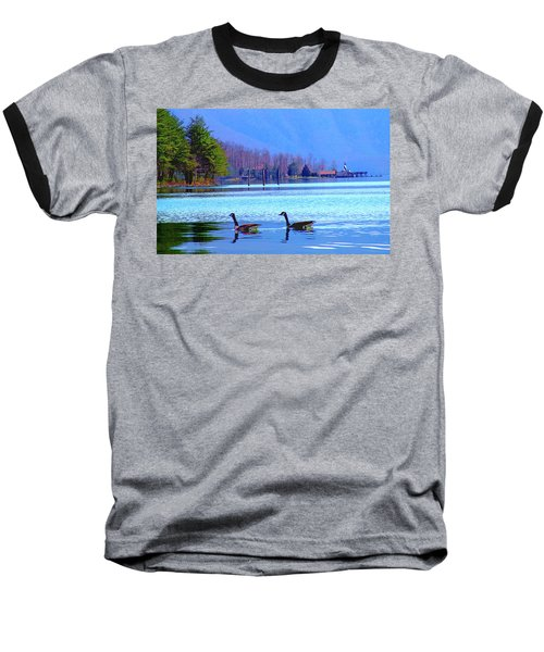Lighthouse Geese, Smith Mountain Lake Baseball T-Shirt